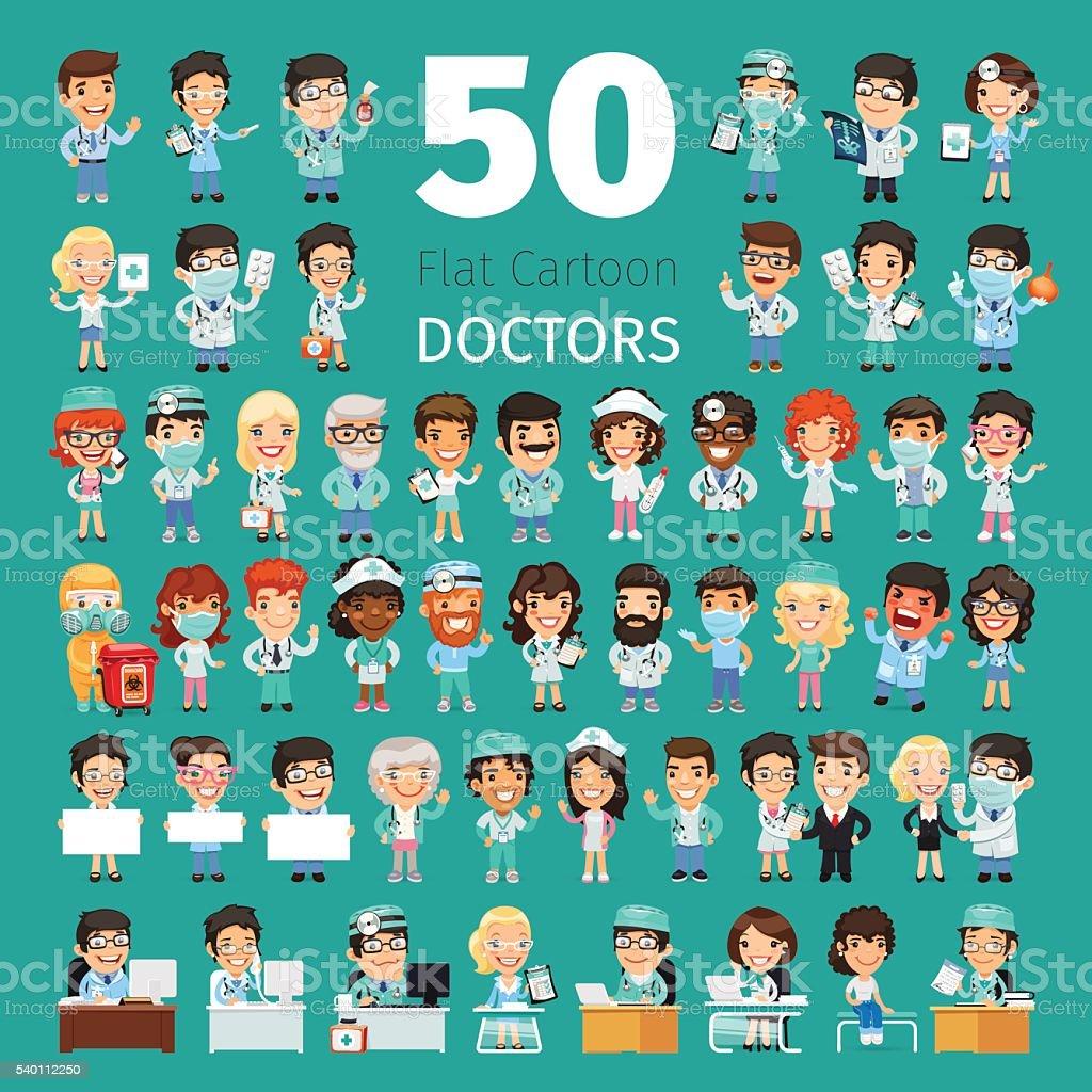 Cartoon Doctors Big Collection vector art illustration