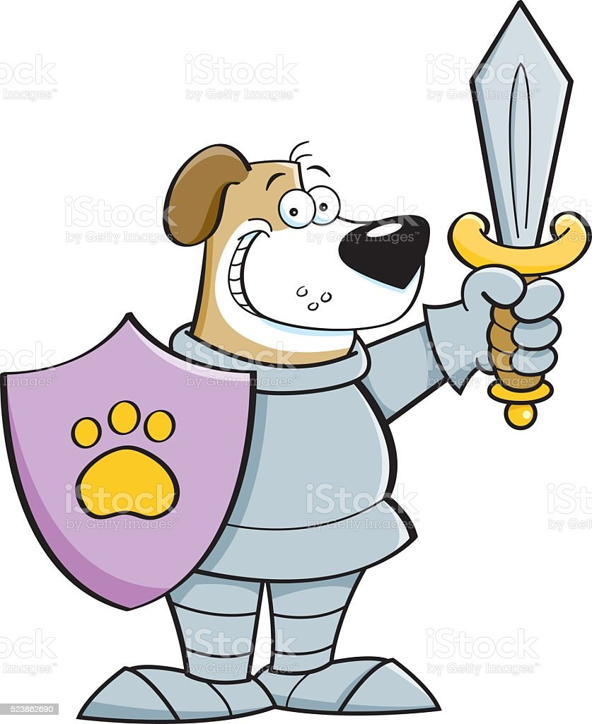 Cartoon dog dressed as a knight. vector art illustration