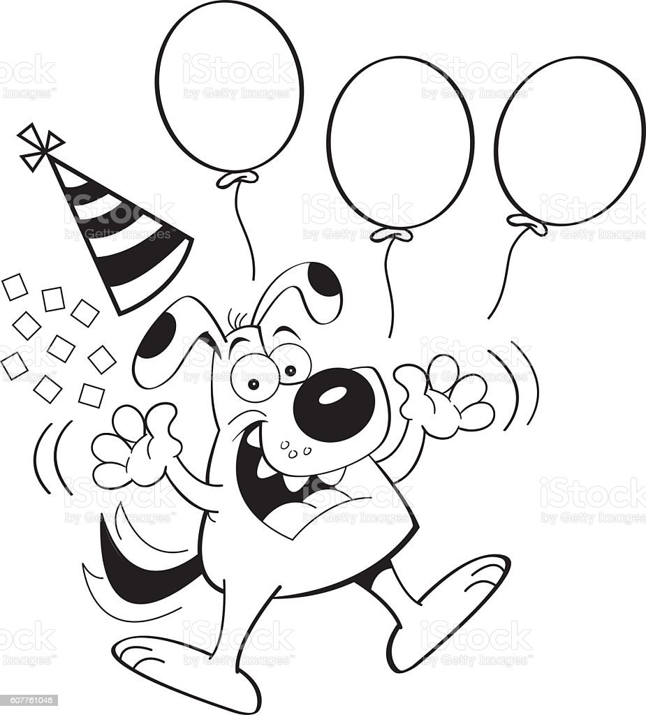 Cartoon Dog Jumping With Balloons Royaltyfree Stock Vector Art How To Draw