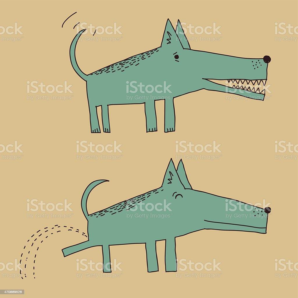 Cartoon dog peeing vector art illustration