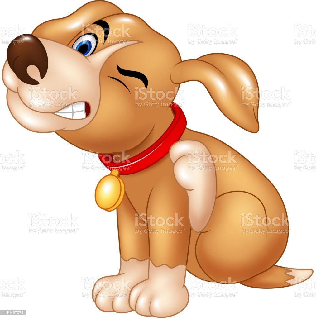 Cartoon dog scratching an itch vector art illustration