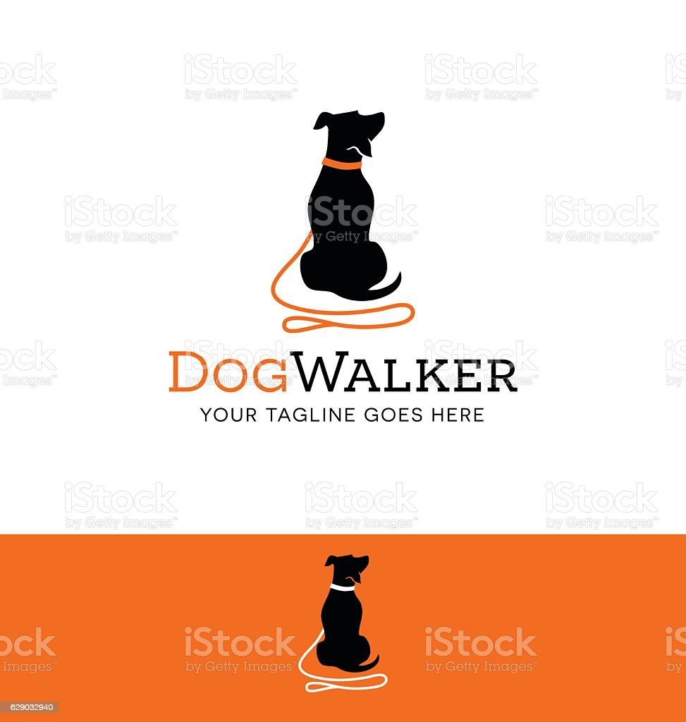 cartoon dog silhouette with red leash icon for creative use vector art illustration