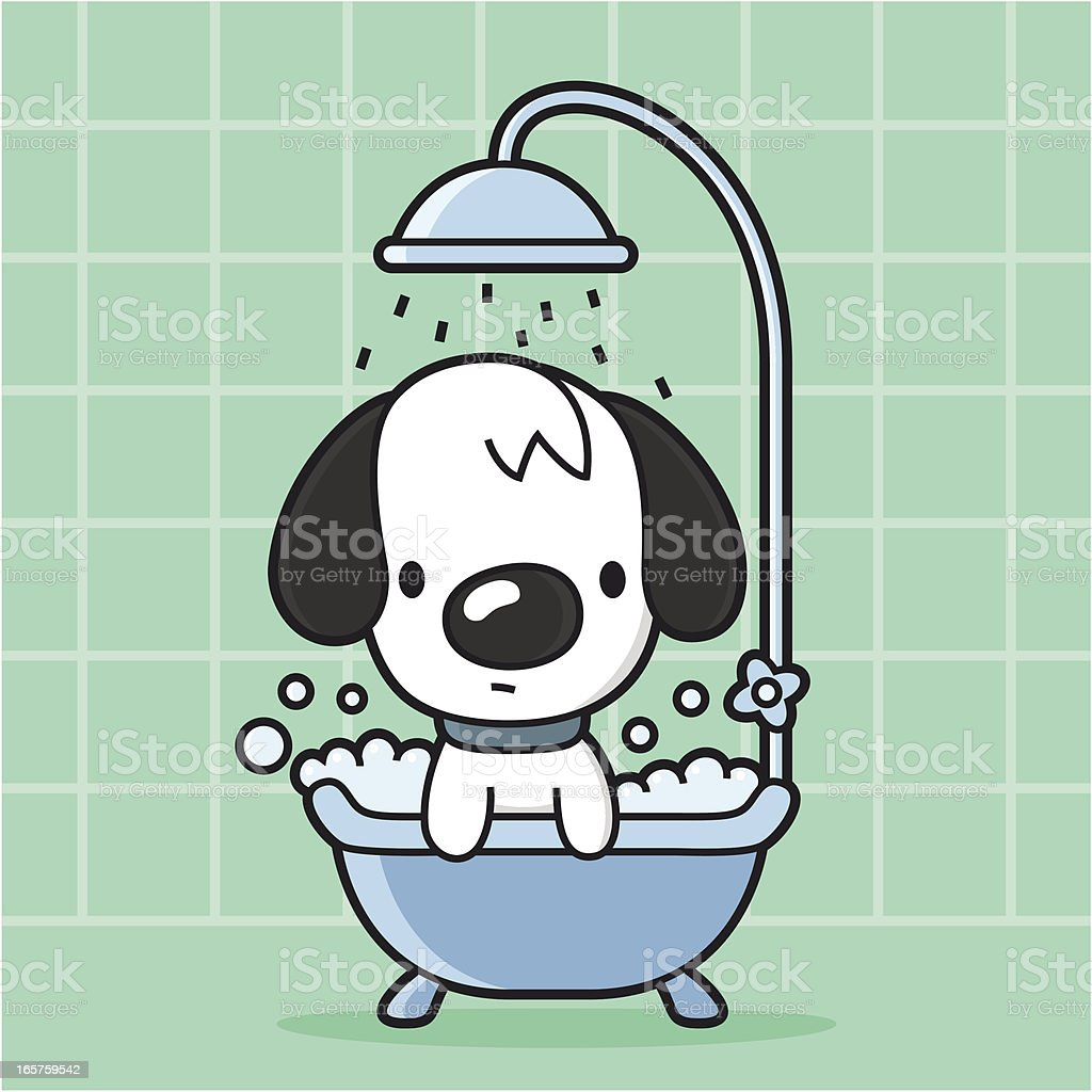 cartoon dog takes a bath in the bathtub / shower vector art illustration