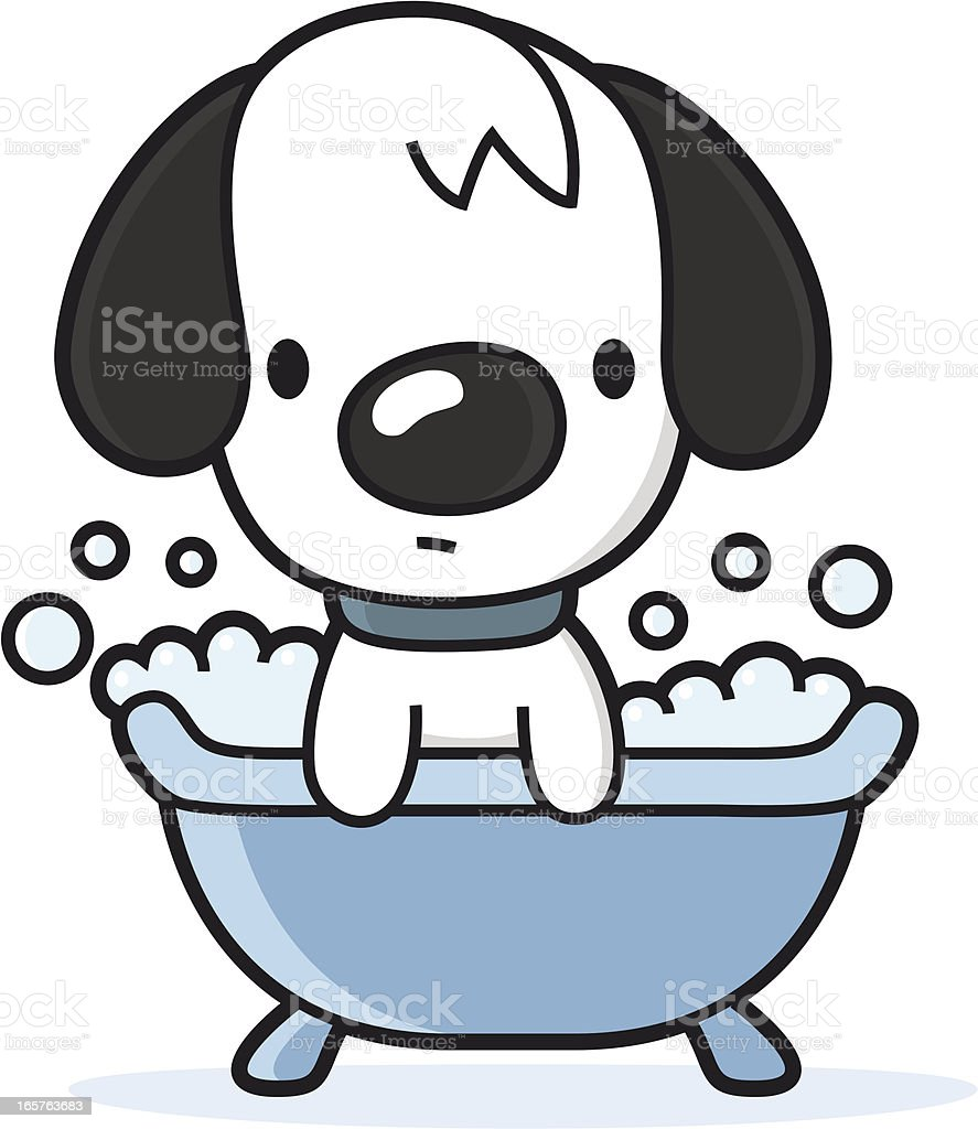 cartoon dog takes a bath in the bathtub royalty-free stock vector art