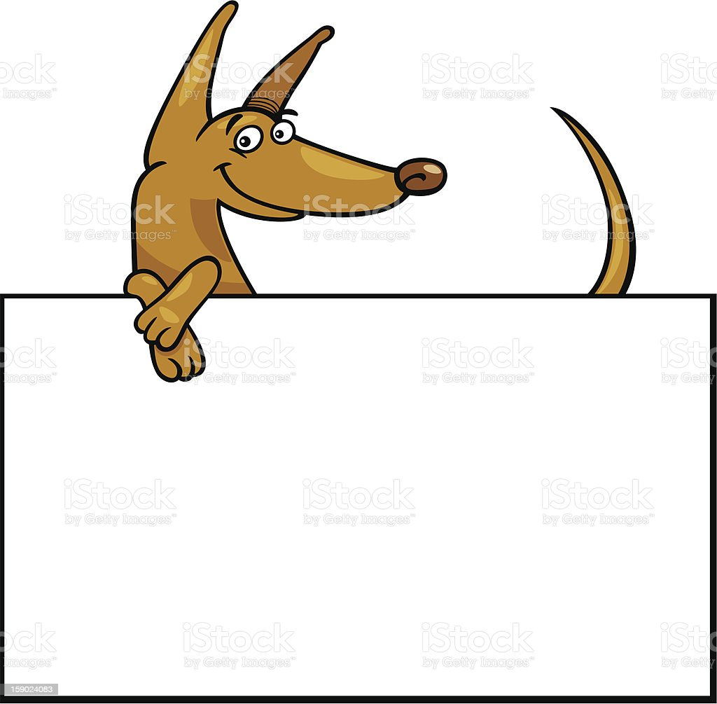 cartoon dog with board or card royalty-free stock vector art