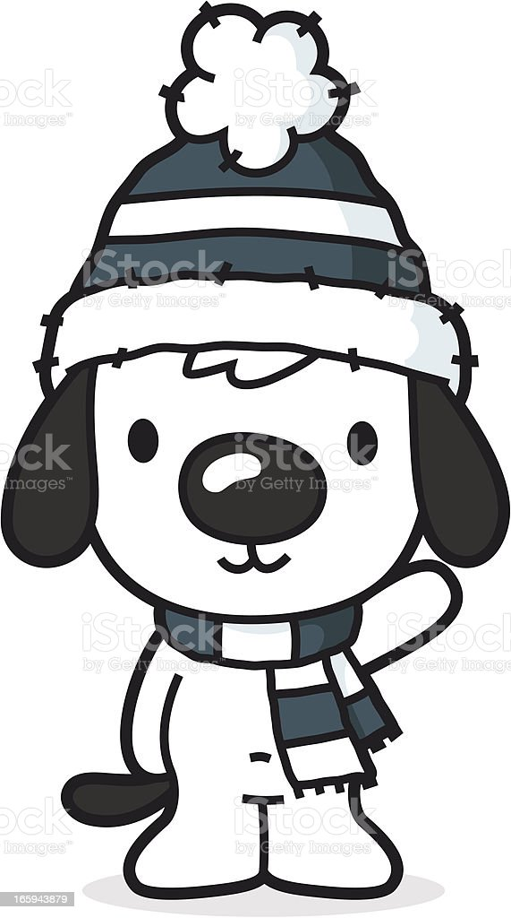 cartoon dog with bobcap and scarf / cold winter vector art illustration