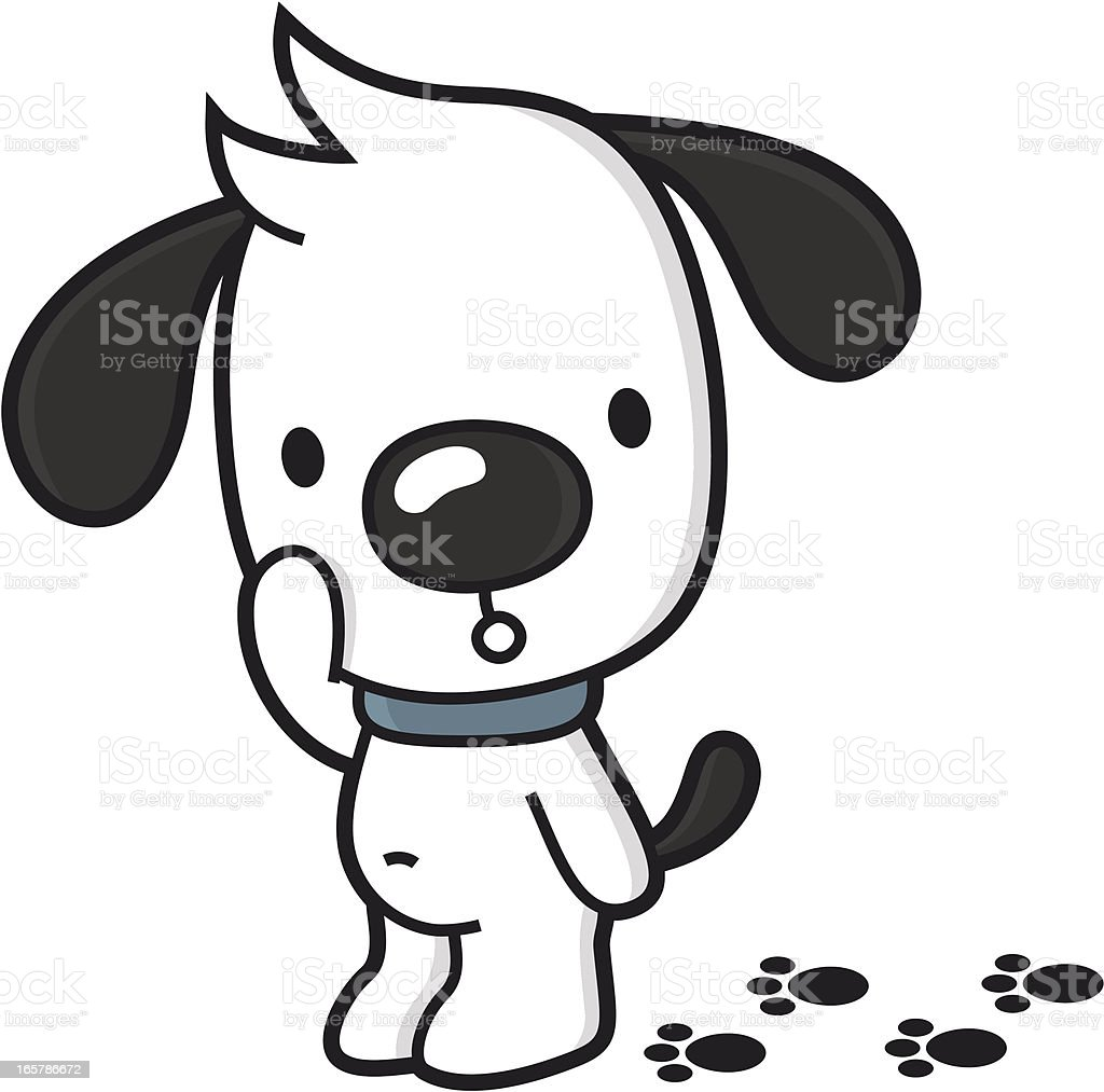 cartoon dog with dirty paws / not house broken royalty-free stock vector art