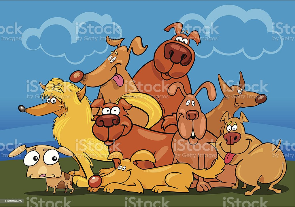cartoon dogs group royalty-free stock vector art