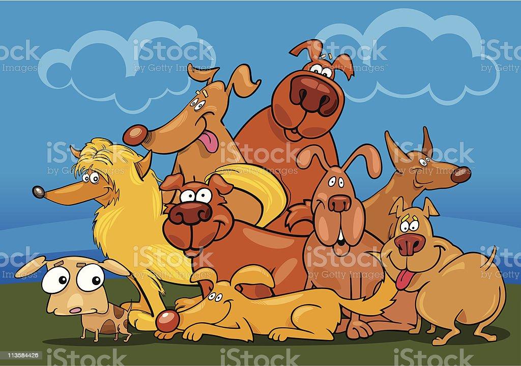 cartoon dogs group vector art illustration