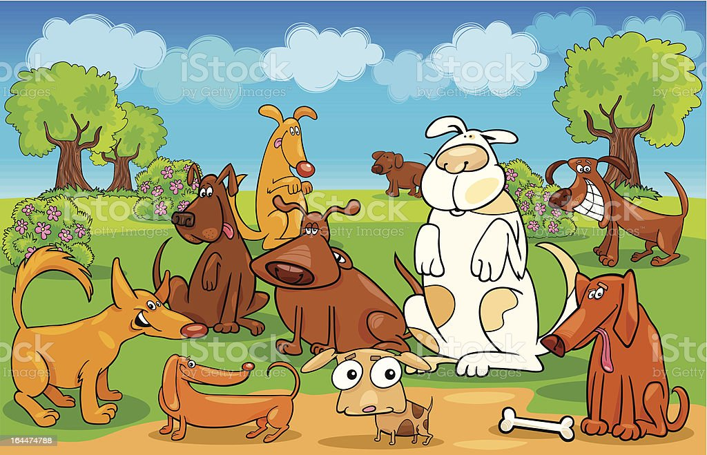 Cartoon dogs on the meadow royalty-free stock vector art