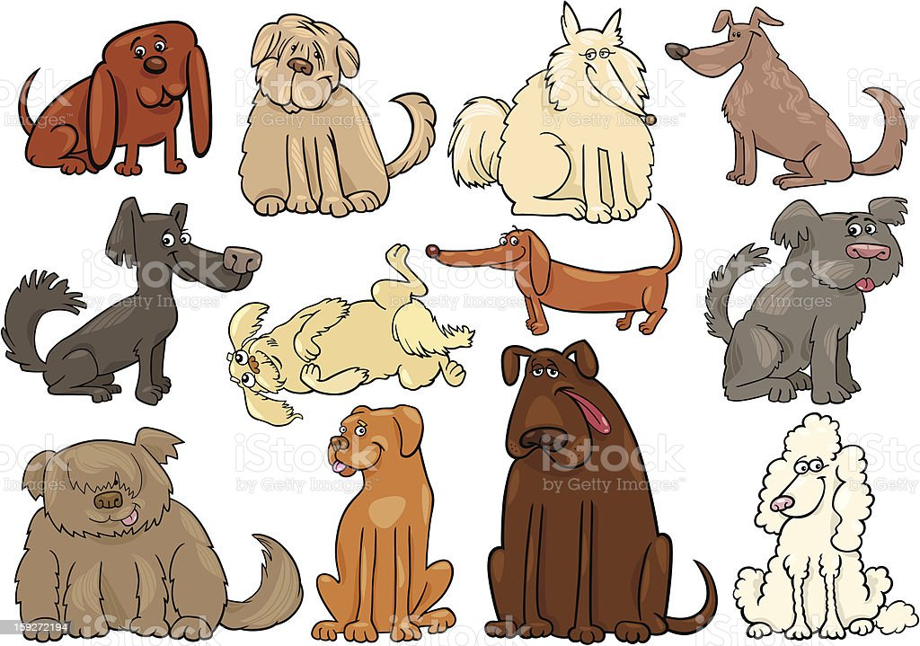cartoon dogs or puppies big set vector art illustration