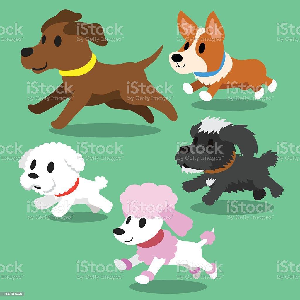Cartoon dogs running vector art illustration