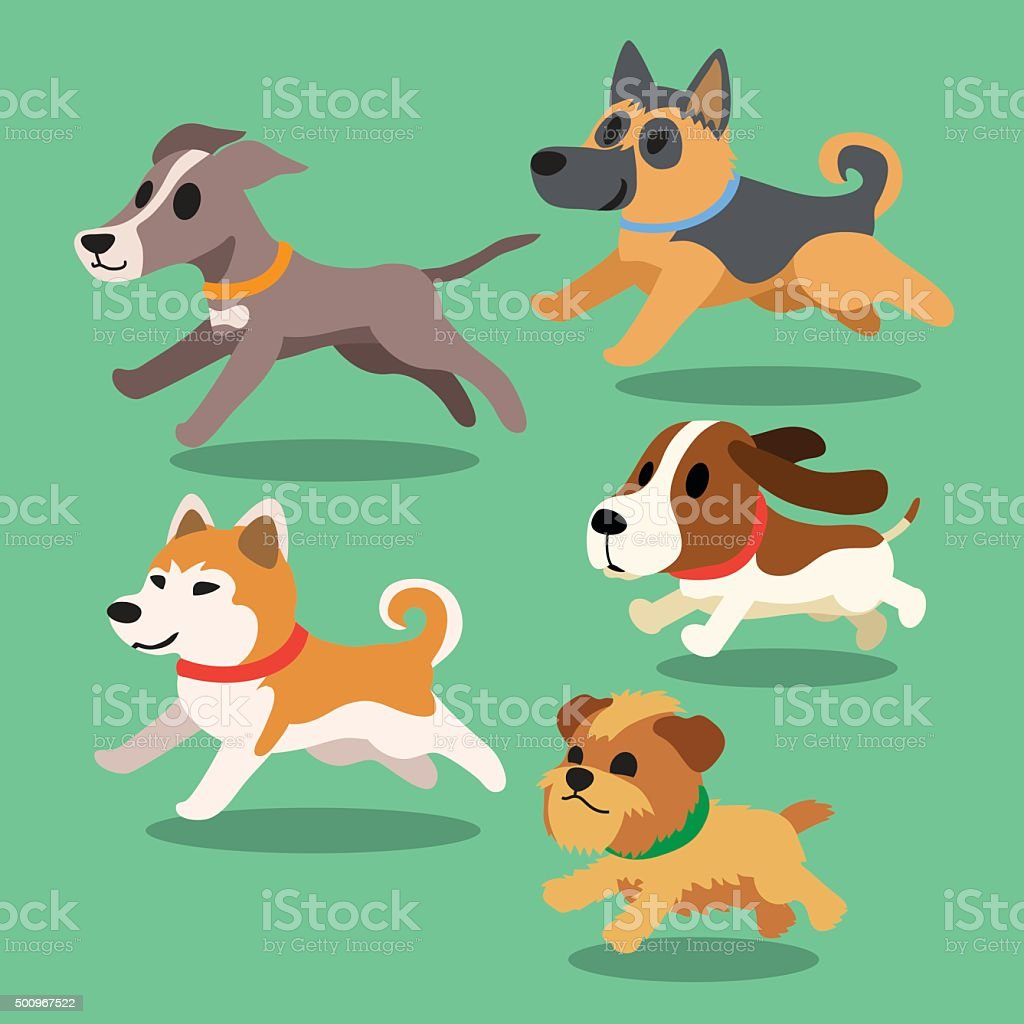 Cartoon dogs running vector art illustration