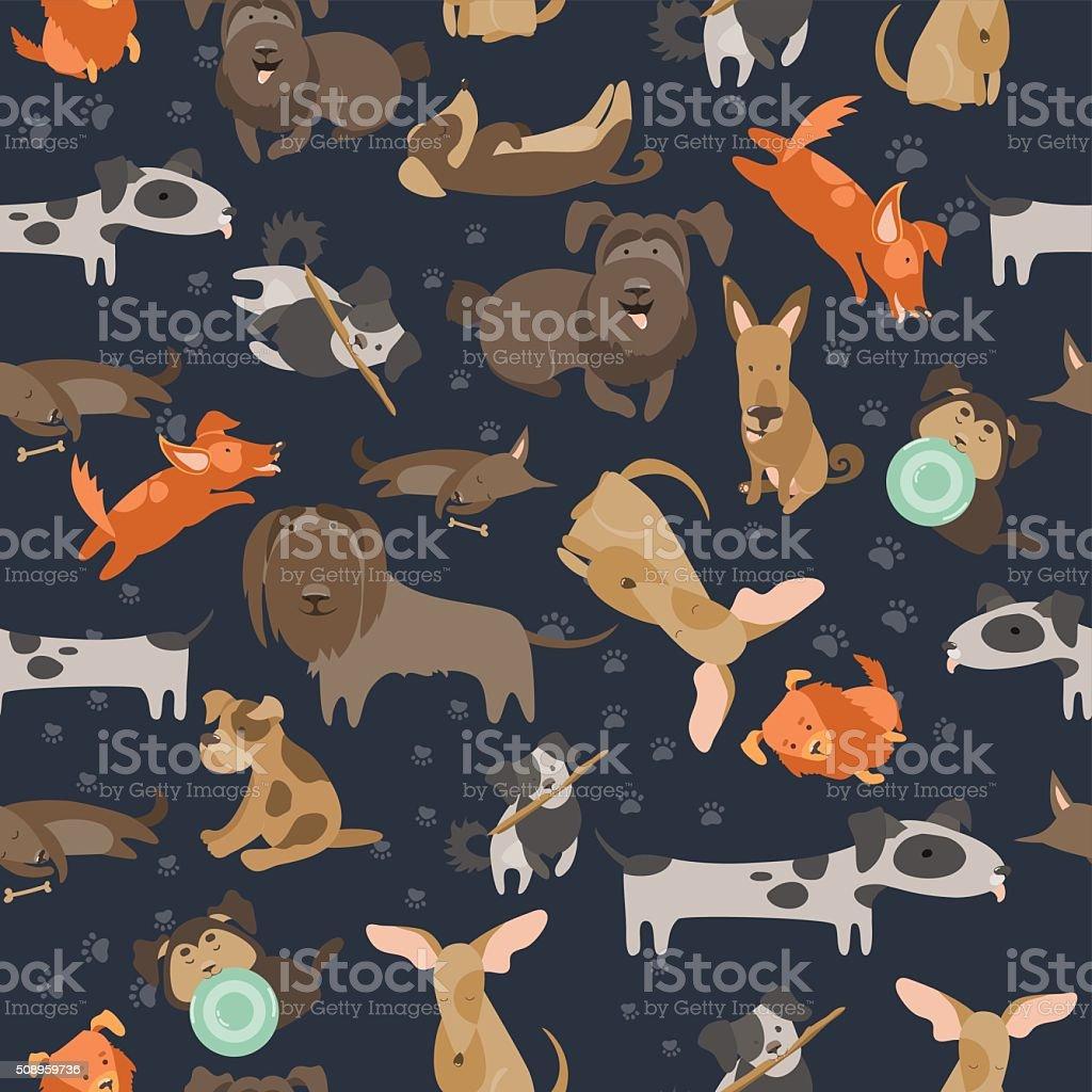 Cartoon dogs seamless pattern vector art illustration