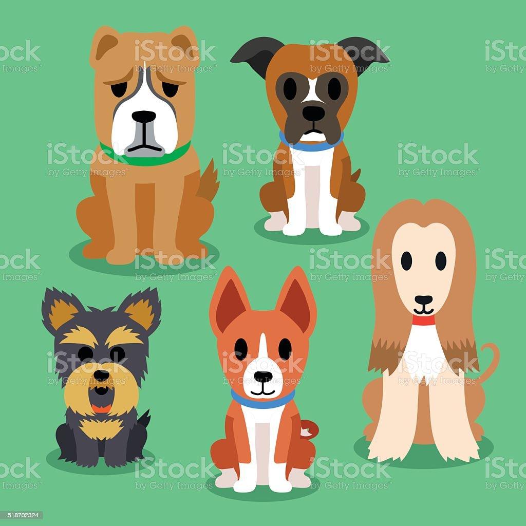 Cartoon dogs vector art illustration
