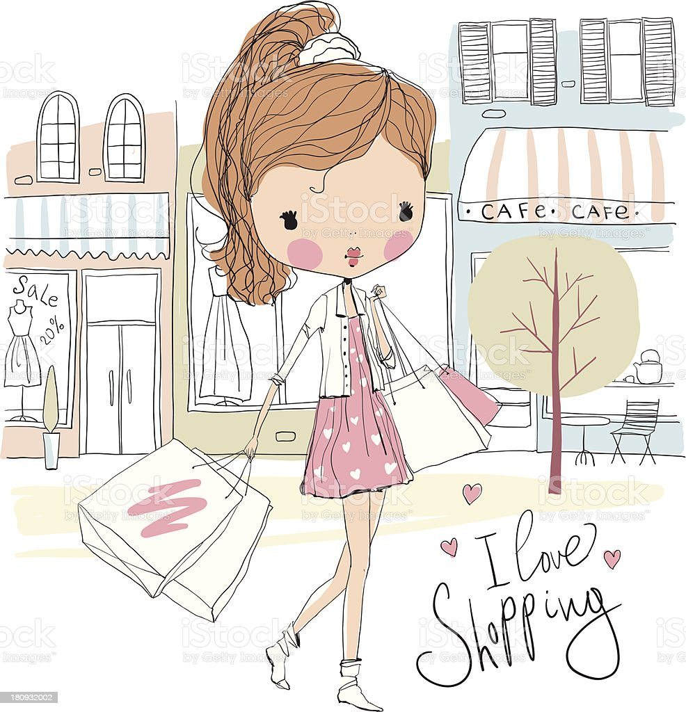 A cartoon doll girl with shopping bags on the street  royalty-free stock vector art