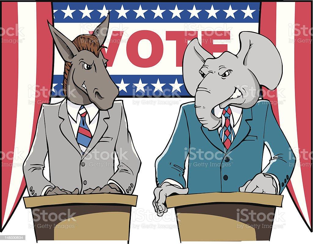 Cartoon Donkey and Elephant Debate royalty-free stock vector art