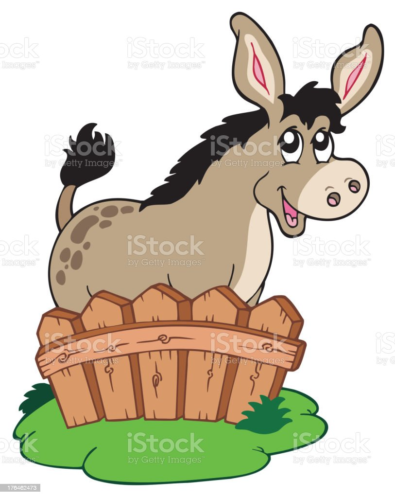 Cartoon donkey behind fence royalty-free stock vector art