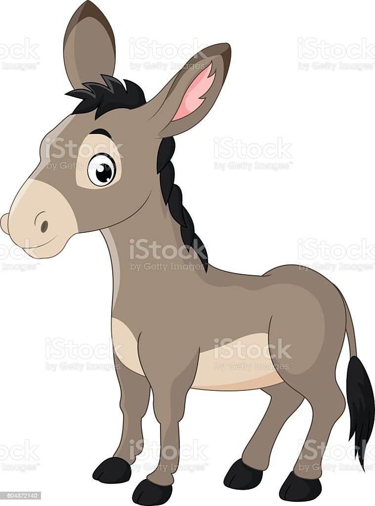 Cartoon donkey smile and happy vector art illustration