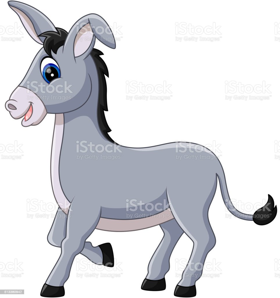 cartoon donkey smile vector art illustration
