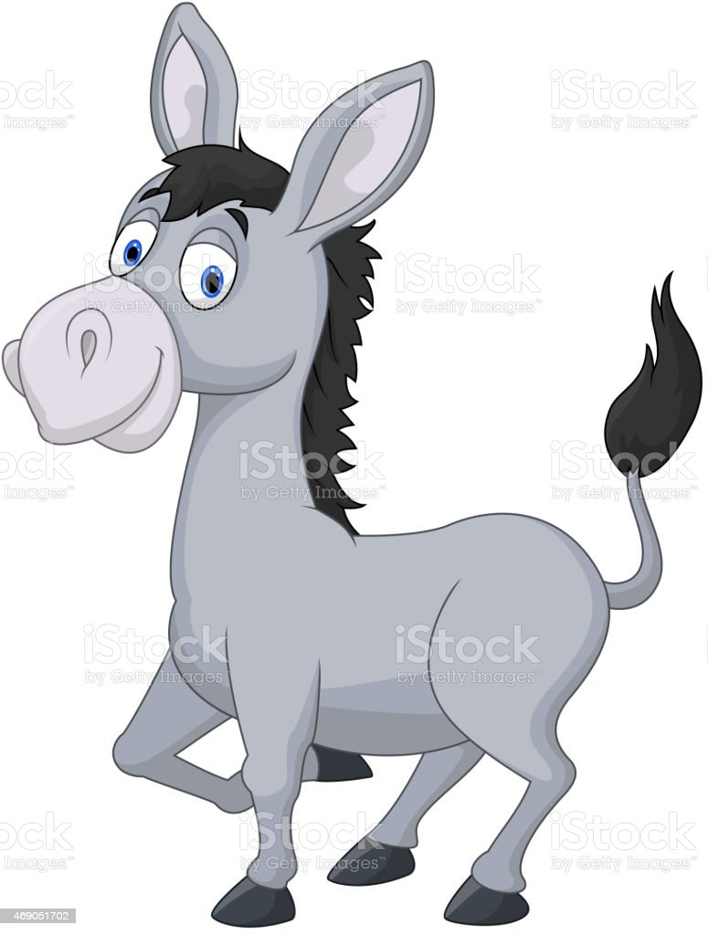 Cartoon donkey vector art illustration