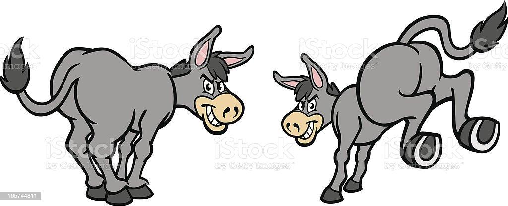 Cartoon Donkeys vector art illustration