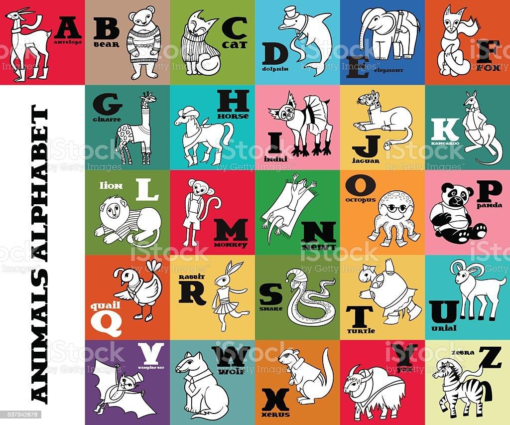 Cartoon doodle animals alphabet poster. vector art illustration