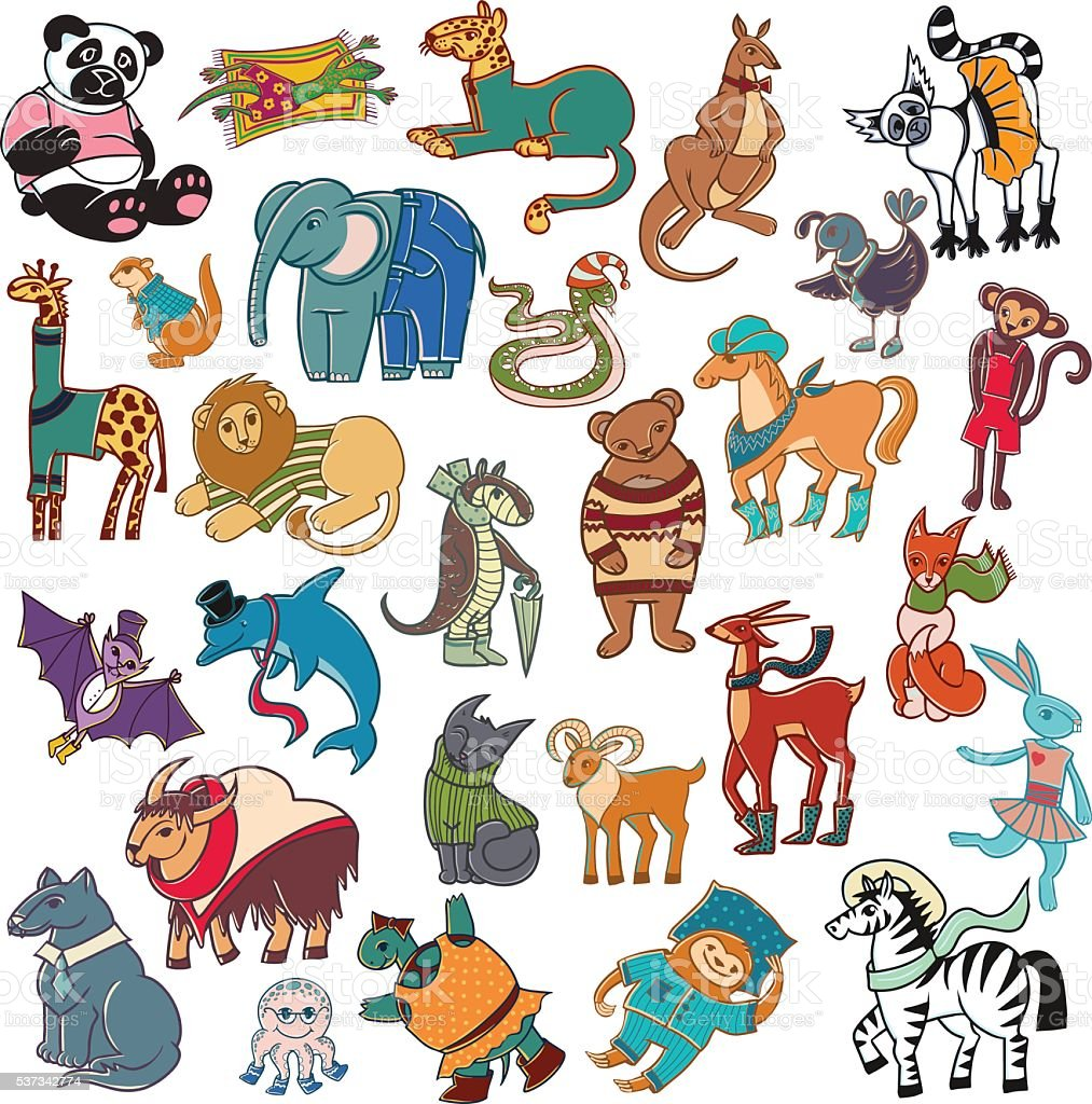 cartoon doodle animals big set vector art illustration
