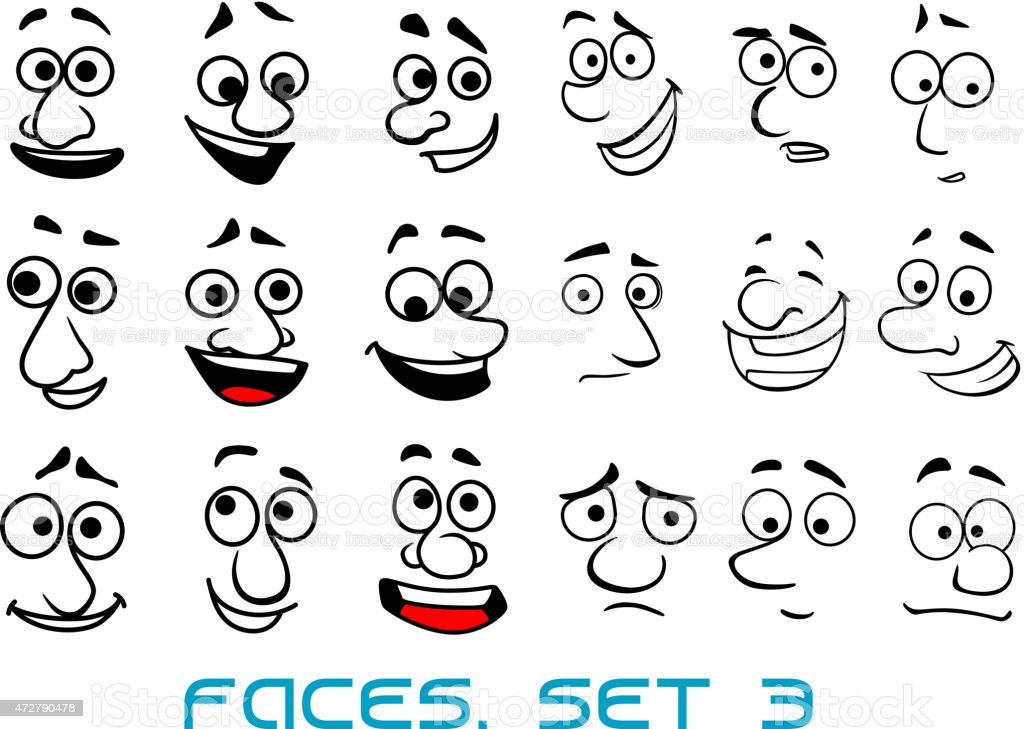 Cartoon doodle faces with different emotions stock vector for Doodle art faces
