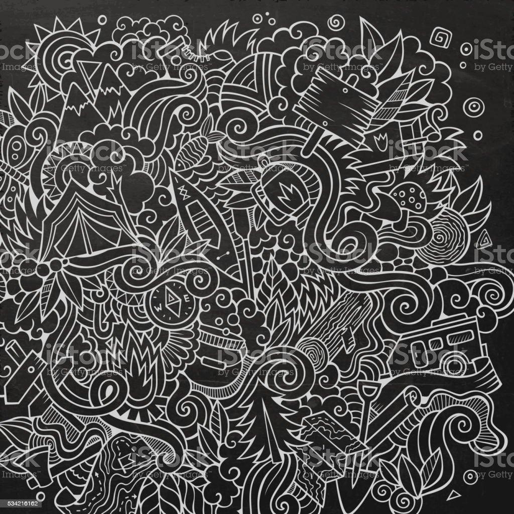 Cartoon doodles camp illustration vector art illustration