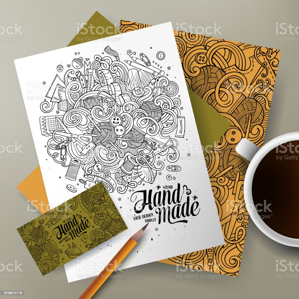 Cartoon doodles Handmade corporate identity set vector art illustration