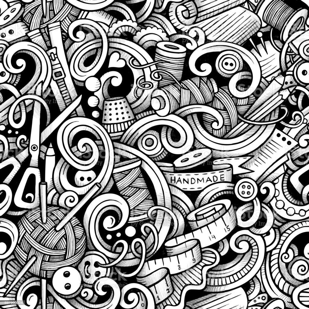Cartoon doodles handmade seamless pattern vector art illustration