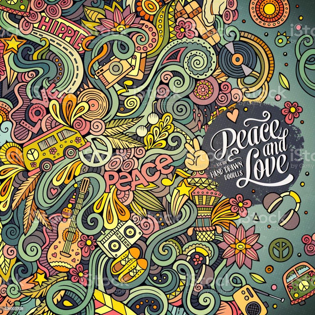 Cartoon doodles hippie illustration vector art illustration