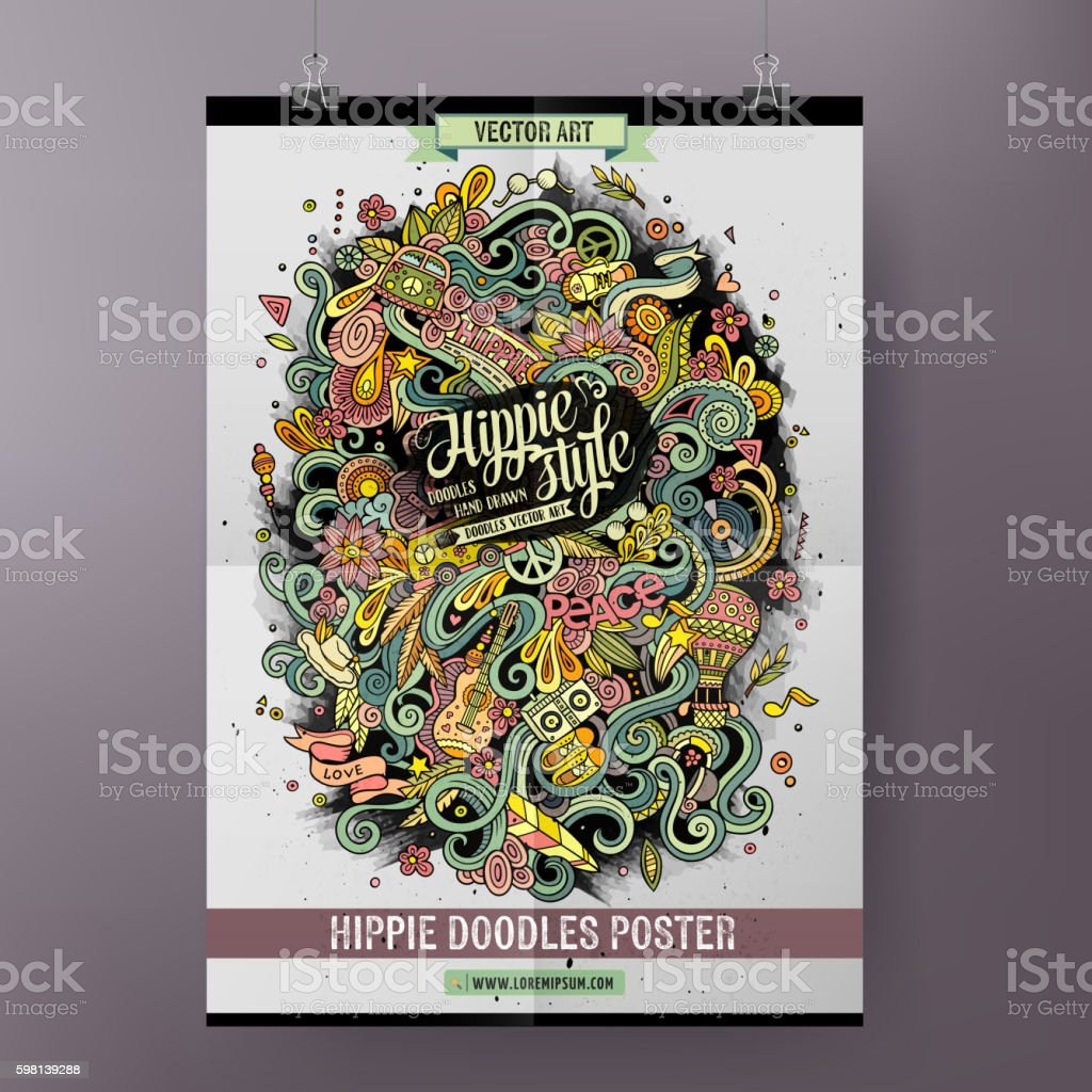 Cartoon doodles hippie poster vector art illustration