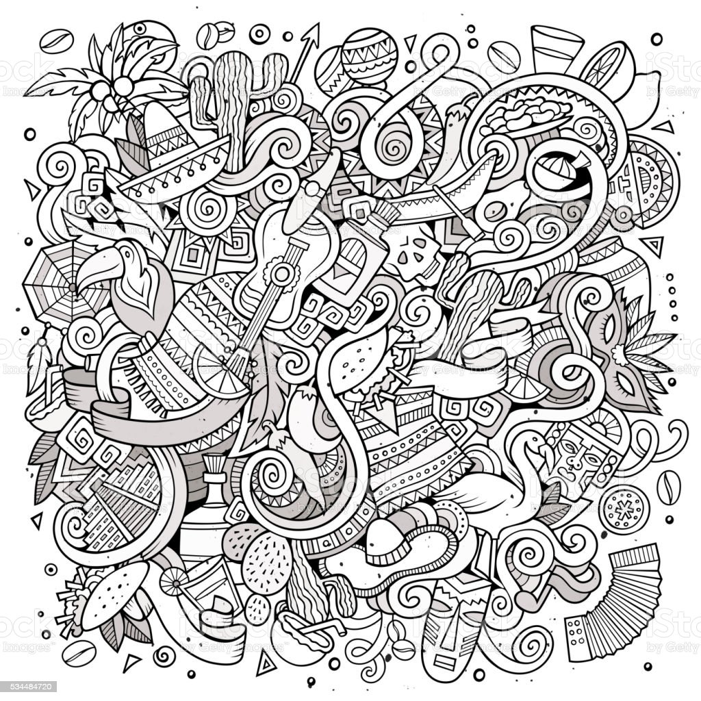 Cartoon doodles Latin American illustration vector art illustration