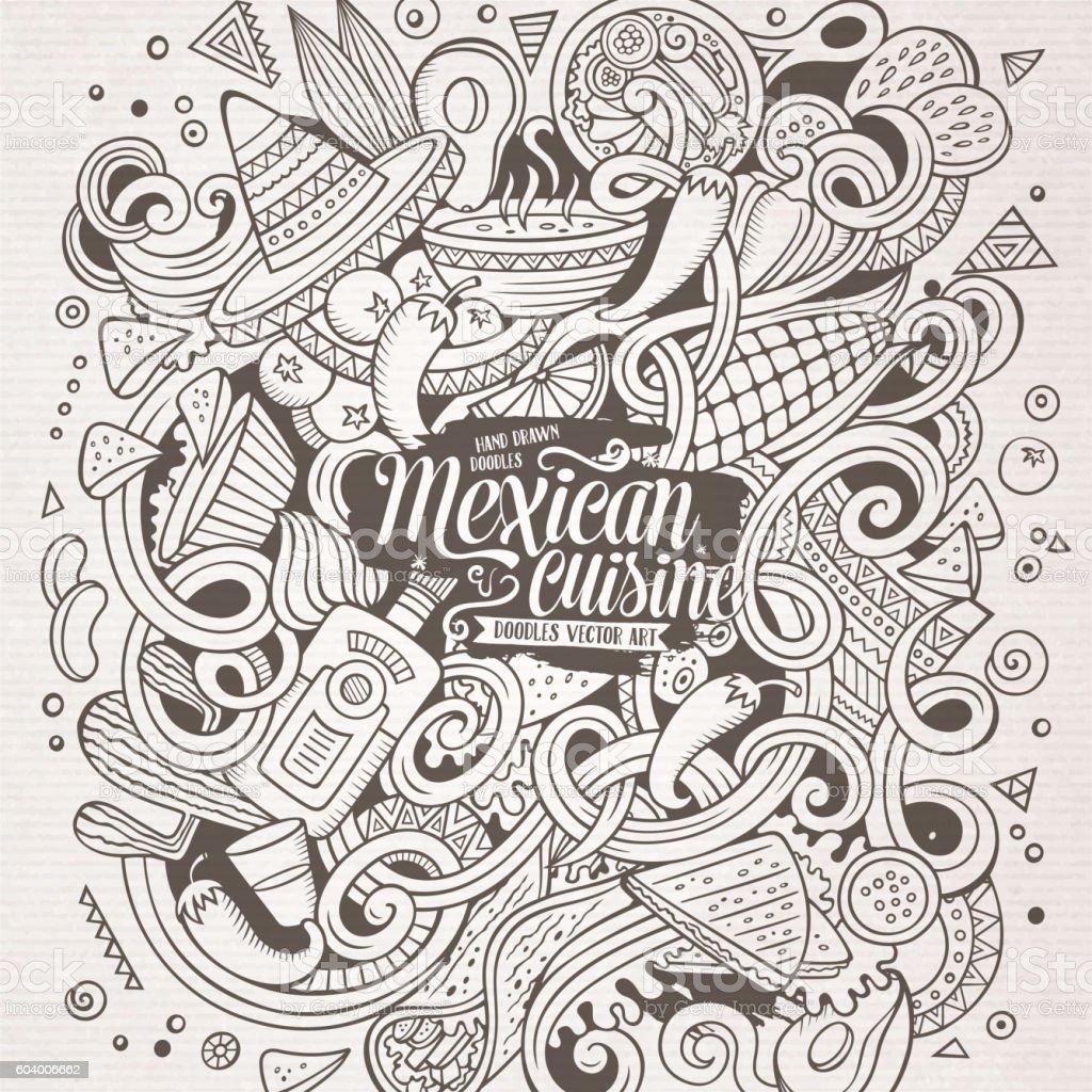 Cartoon doodles Mexican food illustration vector art illustration