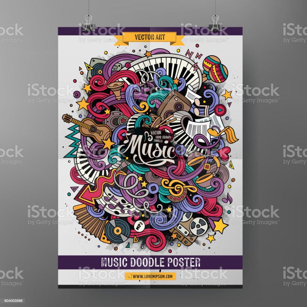 Cartoon doodles Musical poster vector art illustration