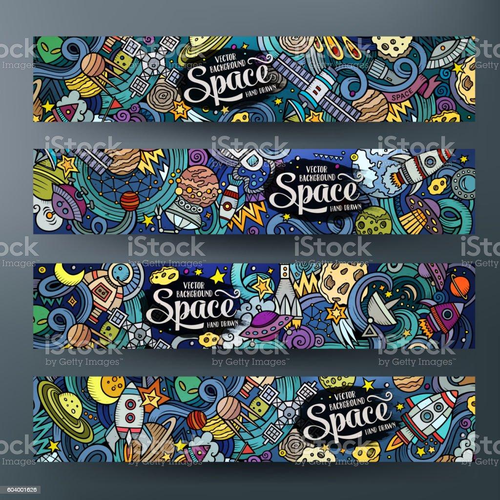 Cartoon doodles space banners vector art illustration