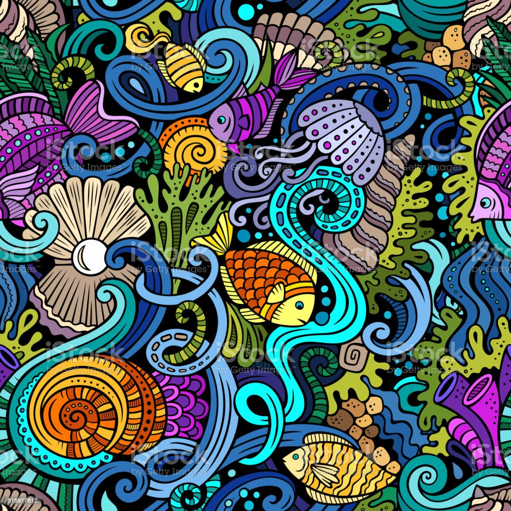 Cartoon doodles under water life seamless pattern vector art illustration