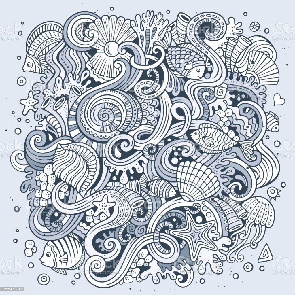 Cartoon doodles Underwater life illustration vector art illustration
