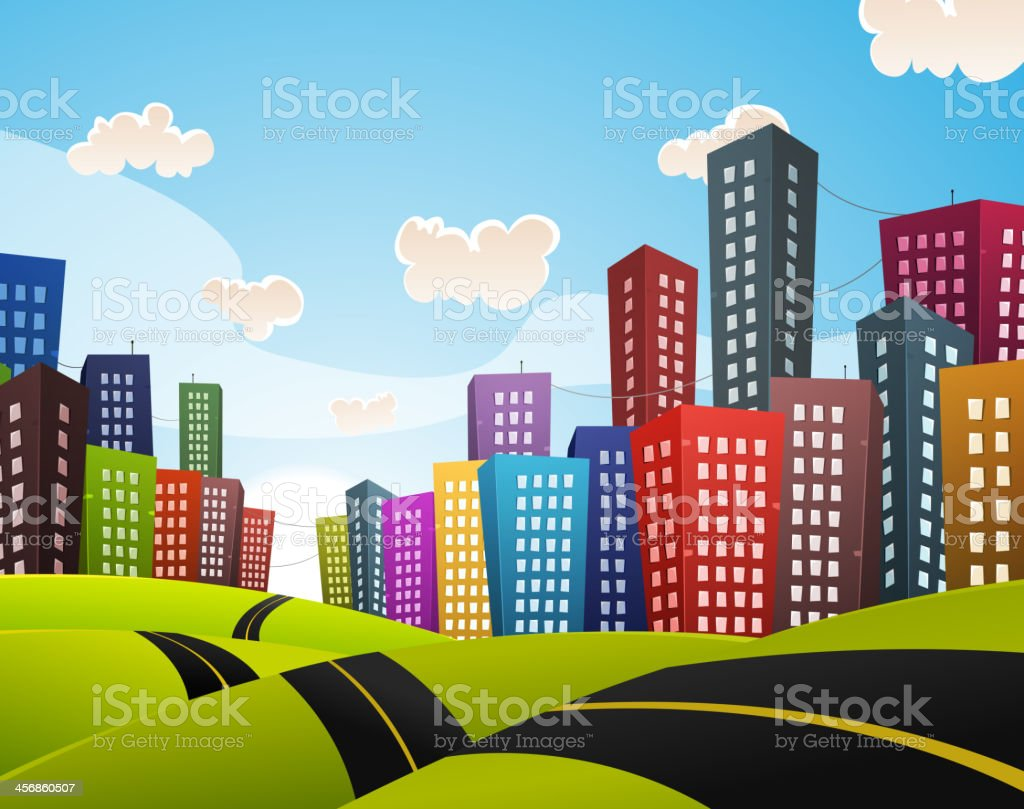 Cartoon Downtown Road Landscape royalty-free stock vector art