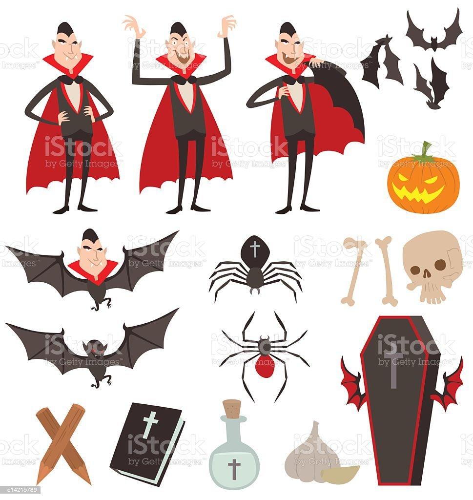Cartoon Dracula vector symbols icons vector art illustration