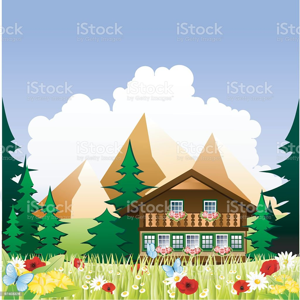A cartoon drawing of a chalet in the mountains vector art illustration