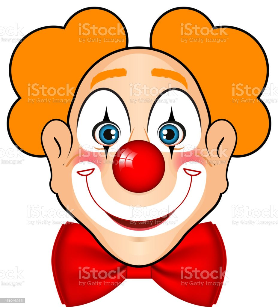 Cartoon drawing of a clown face with orange hair  vector art illustration