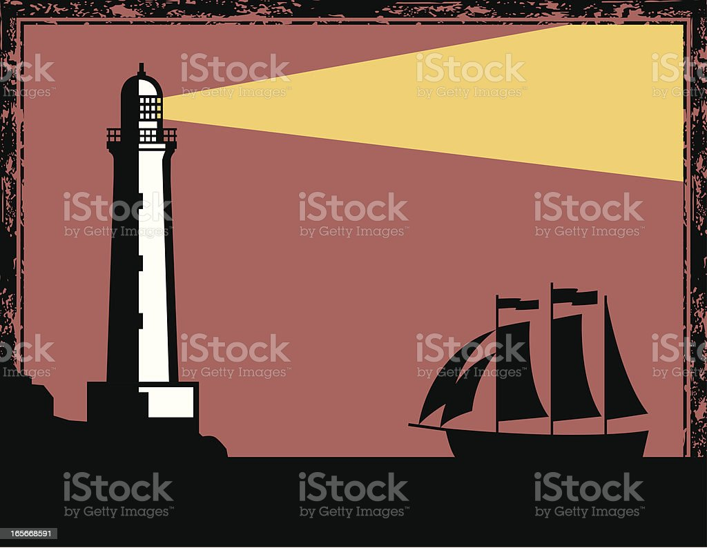 Cartoon drawing of a lighthouse and ship at night royalty-free stock vector art