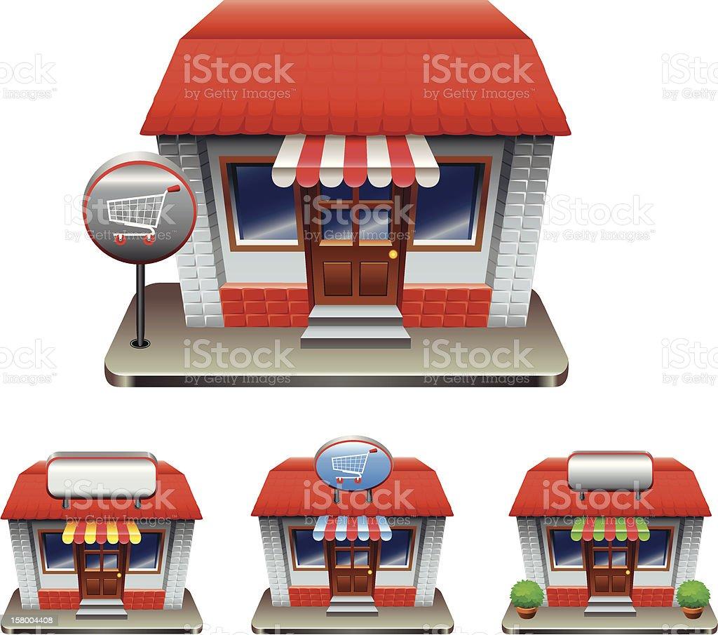 Cartoon drawing of a shop with three smaller cartoons below royalty-free stock vector art