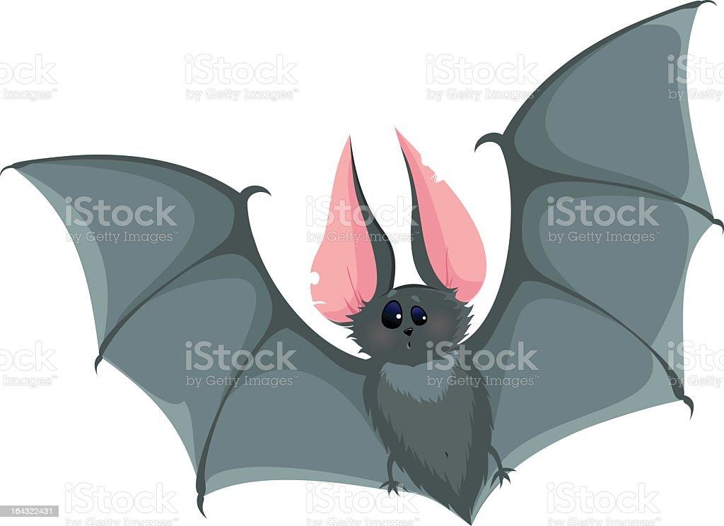 Cartoon drawing of a surprised looking bat vector art illustration