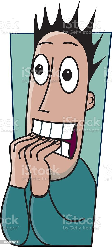 Cartoon drawing of anxious man biting his fingernails  vector art illustration