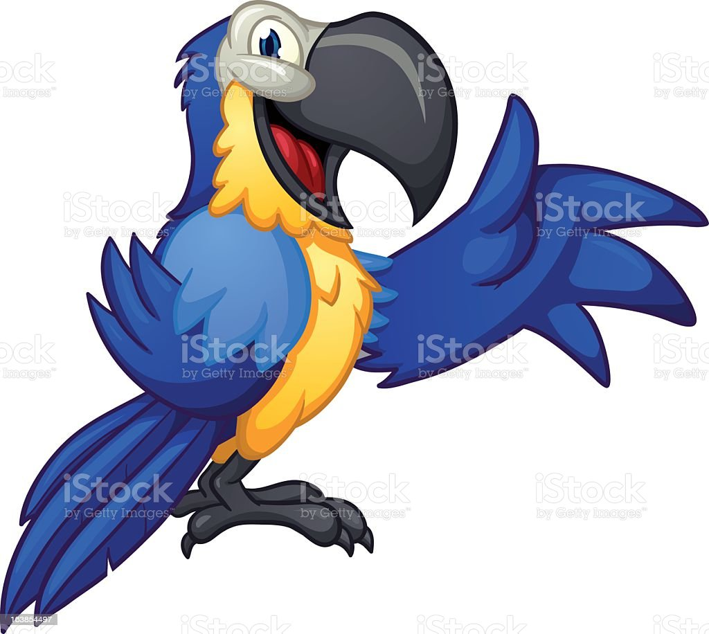 Cartoon drawing of blue macaw with yellow breast royalty-free stock vector art