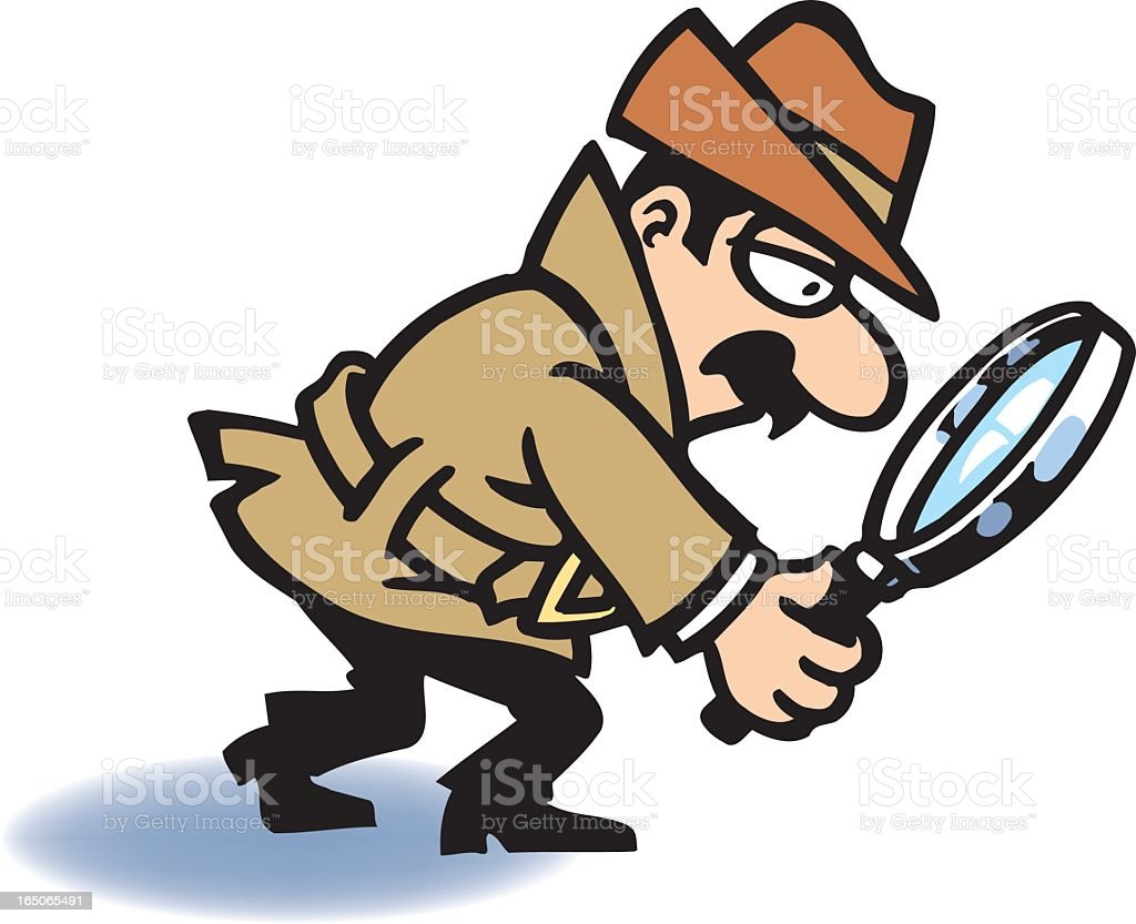 Cartoon drawing of detective with magnifying glass vector art illustration